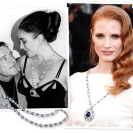 Jessica Chastain Wears Elizabeth Taylor's 52.72 Carat Sapphire Necklace