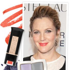 Get the Look: Drew Barrymore's Lavender Eye Shadow and Sheer Coral Lip