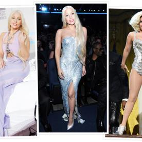 Lady Gaga Wears 3 Versace Dresses During The AMAs (And Channels Donatella In Her Versace Spring 2014 Ad Campaign)