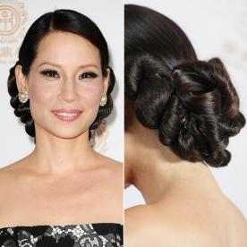 Best updo hairstyles for wedding prom instyle lucy liu updo junglespirit Choice Image