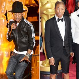 Man Moment: Pharrell Steals the Show in Knee-High Shorts, Red Sequin Shoes and Yet Another Hat