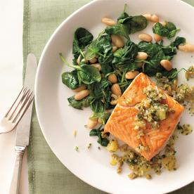Healthy Recipe For World Health Day: Seared Salmon With White Beans