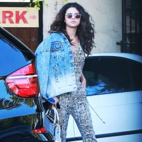 Found It! Selena Gomez's Black-and-White Jumpsuit
