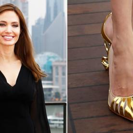 They're Baaack: Angelina's Villainous Louboutins (This Time in Gold)