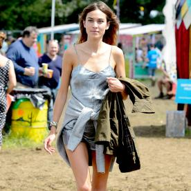 Alexa Chung Wears an Unexpected Outfit to Glastonbury Music Festival