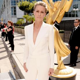 She's Bringing Sexy Back! Robin Wright Stuns in a Plunging White Jumpsuit at the Emmys