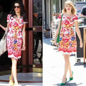 Twins! Taylor Swift and Amal Alamuddin Wear the Same Oscar de la Renta Frock