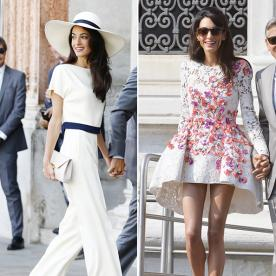 Amal Alamuddin Dazzles in 4 Chic Wedding Weekend Frocks