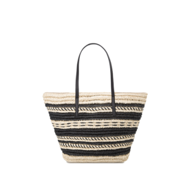 Striped+straw+bag