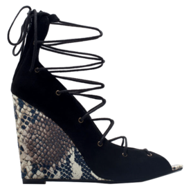 Zara Lace-up printed leather wedge