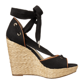 Canvas+And+Leather+Wedge