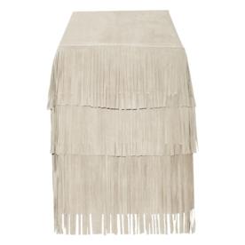<p>Fringed suede and stretch-modal skirt</p>