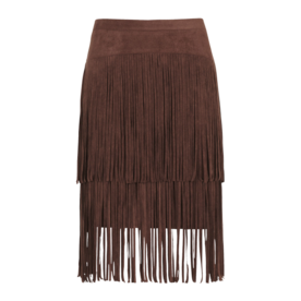 Faux+Suede+Fringe+Pencil+Skirt