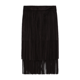 <p>Suede Skirt with Fringe</p>