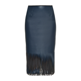 <p>Faux Leather Fringed Midi Skirt</p>