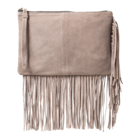 <p>Fringed suede clutch</p>