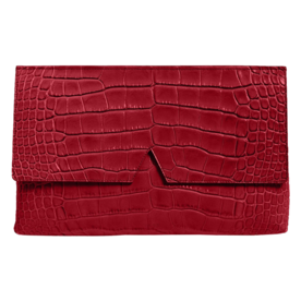 <p>Croc Embossed Leather Clutch</p>