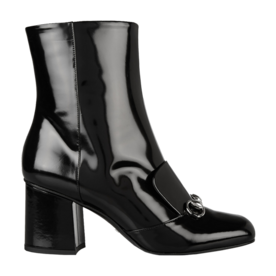 Horsebit-detailed+patent-leather+ankle+boots