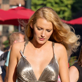 Blake Lively Wows in a Plunging Silver Dress on the Set of Her New Movie