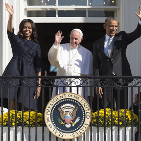 Michelle Obama Is Beautiful in Navy Blue for Pope Francis's Arrival Ceremony