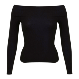 <p>Ribbed Off-the-Shoulder Sweater</p>