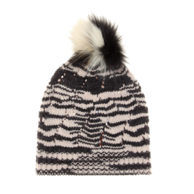 <p>Knitted wool blend beanie with fur </p>