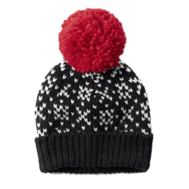 Black and red knit slouchy beanie