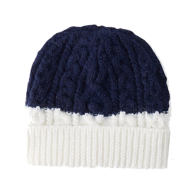 White and navy cable beanie