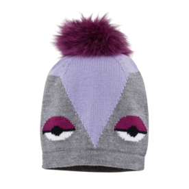 Grey and lilac cartoon beanie