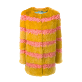 Shrimps Faux fur striped coat