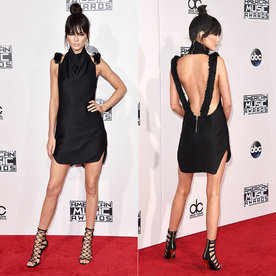See Kendall Jenner's Back-Baring AMAs Minidress—and Her New Bangs!