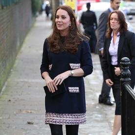 Kate Middleton's Blossoming! The Duchess Shows Off Her Baby Bump in a British Label