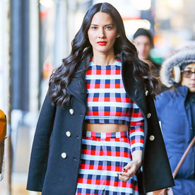 Olivia Munn Wows in a Midriff-Baring Look While Braving the Cold in N.Y.C.