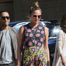 Chrissy Teigen Shows Off Her Flower Power Maternity Style on a Date with John Legend