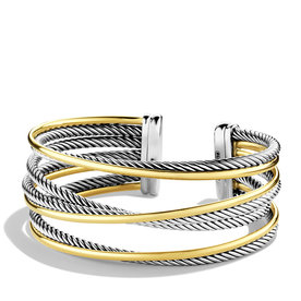 David+Yurman+Crossover+Four-Row+Cuff+in+Sterling+Silver+with+18k+Gold