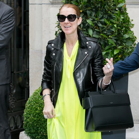Celine Dion Rocks Edgy Leather Jacket and Neon Dress in Paris