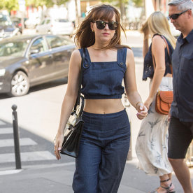 Dakota Johnson Bares Her Abs in Super Chic Denim Crop Top and Matching Culottes