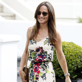Pippa Middleton Glows in a Floral Print Dress Days After Engagement to James Matthews