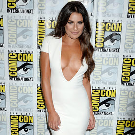 Lea Michele Turns Heads in Super Low Plunging White Dress at Comic-Con