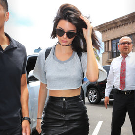 Kendall Jenner Rocks a Leather Mini Skirt and Cropped Sweatshirt in San Diego