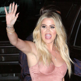 Khloé Kardashian Looks Hotter Than Ever in a Skintight Pink Suede Dress