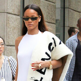 Rihanna Parades Through Prague in a Fashion-Forward, Monochromatic Look