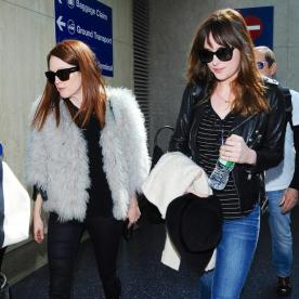 Fresh from NYFW, Julianne Moore and Dakota Johnson Hit the Airport Together in Style