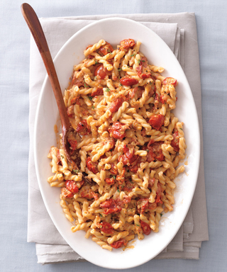 Serve This Creamy Gemelli Pasta with Cherry Tomatoes atYour Next Fall Fête