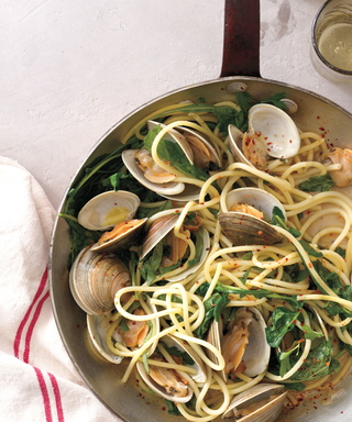 This Spaghetti Dish with Clams, Arugula, and Basil Will Satisfy All Your Carb Cravings