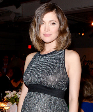 Rose Byrne Shows Off Her Baby Bump in a Chic Metallic Dress