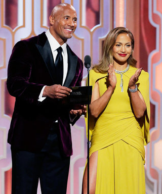 """The Rock Posts a Photo of Jennifer Lopez's """"Amazing Legs"""" at the Golden Globes"""