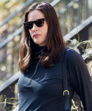 Liv Tyler Shows Off Her Baby Bump in Striped Leggings