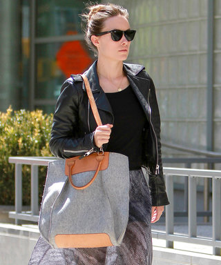 New York, NY - Olivia Wilde showed off her fashion chops in the Big Apple on Thursday afternoon when she dined at Morandi Italian restaurant in the West Village for lunch. The 'Rush' actress looked chic in a black leather jacket worn over a sheer patterne