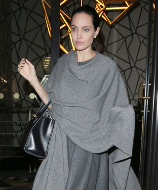 Angelina Jolie Wears Head-to-Toe Gray for a Night Out in London
